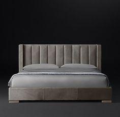 Restoration Hardware Modern Vertical Channel Shelter Leather Platform Bed