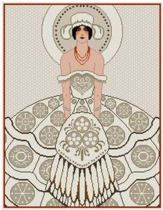 0 point de croix femme robe art nouveau - cross stitch lady and dress art nouveau