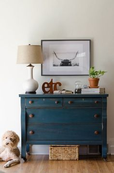 Lovely green blue dresser makeover