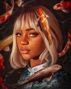 Surreal Digital Paintings by Elena Masci | Daily design inspiration for creatives | Inspiration Grid L'art Du Portrait, Digital Portrait, Black Girl Art, Black Women Art, Art Sketches, Art Drawings, Arte Black, Digital Art Girl, Magic Art