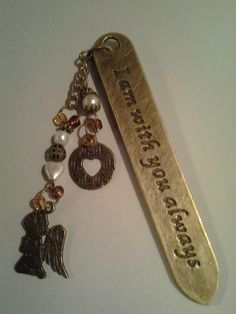 Bronze bookmark with 'I am with you always', beaded chain and bronze angel charm