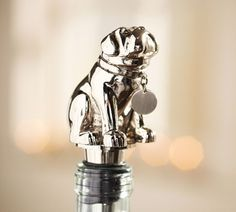 WANT of NEED (I can never get the cork back in right): Bulldog Bottle Stopper   Pottery Barn