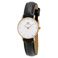 Daniel Wellington Womens 0901DW Classy Sheffield Rose Gold-Tone Stainless Steel Watch With Black Leather Band