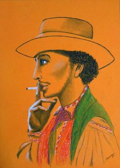 Buy Gypsy Man (Portrait of Ethnic Man), a Pastel on Paper by Jayne Somogy from United States. It portrays: Men, relevant to: traveler, gypsy, Rom, Male portrait, colorful, ethnic, romani, handsome man, nomad, orange 11.5 x 16, pastels & charcoal on 98-lb. tinted paper.  All media/materials used are archival quality.