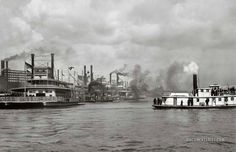 16 x 20 Gallery Wrapped Frame Art Canvas Print of Steamboats along the levee New Orleans 1896 Detriot Publishing co. New Orleans History, Steam Boats, Dere, Paddle Boat, Old Boats, New Orleans Louisiana, Model Ships, Historical Pictures, Tall Ships