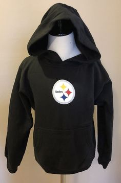 Pittsburgh Steelers Size 7 Hoodie Sweatshirt Black NFL Girl Boy Unisex   Reebok  PittsburghSteelers 231b7505a40