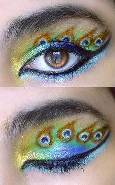 peacock makeup, love the colors!