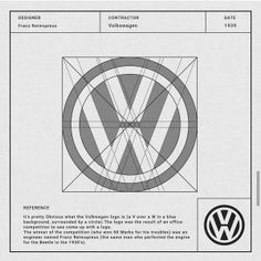 Volkswagen logo, designed by Franz Reimspiess in Learn to design a timeless modern logo like this one using grids - 2 FREE months of Skillshare Premium with unlimited logo design classes. Click the link Logo Guidelines, Inspiration Logo Design, Draw Logo, Graphisches Design, Vector Design, Design Elements, Logo Process, Famous Logos, Geometric Logo