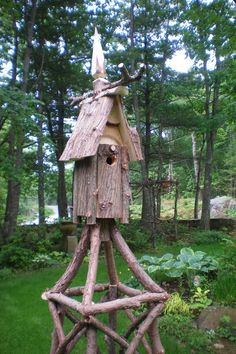 "Snug Harbor Farm asked Steve to create three obelisks for a client in Cape Porpoise.  This captivating trio even boasts a bird house to attract finches and titmice to the garden!  Click on the new tab at left – ""Snug Harbor Obelisks"" – to see a larger selection of pieces that have been for sale in Kennebunk, Maine."
