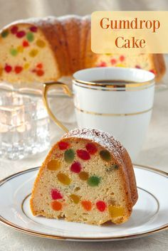 Looks like fruitcake, but it's Gumdrop Cake - a dense buttery pound cake packed with brilliantly colored morsels of gumdrop candy. It's very popular during the Holidays here in Newfoundland and as a frosted birthday cake too. Baking Recipes, Cake Recipes, Dessert Recipes, Pavlova, Gum Drop Cake, Cupcakes, Cupcake Cakes, Bundt Cakes, Newfoundland Recipes