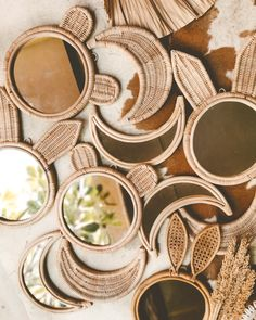 Tribal Bedroom, Moon Mirror, Baby Bamboo, Wicker Mirror, Custom Mirrors, Blue Wood, Luz Led, Baby Prints, Nursery Room
