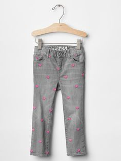 1969 embroidered heart skinny jeans Product Image