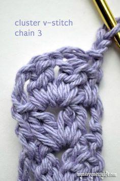 Crochet Cluster V-Stitch Headband – Free crochet pattern for all sizes