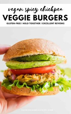 These healthy, amazing, popular spicy chickpea veggie burgers have rave reviews, are full of flavour and most-importantly, hold together perfectly through cooking. Can be BBQ'd, grilled, baked or cooked stovetop. Can be frozen too. Can also be made gluten-free, oil-free and salt-free.
