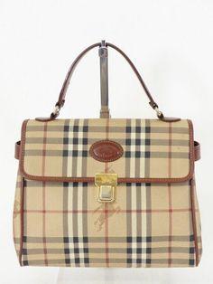 BURBERRY S TASCHE BAG mit LEDER beige - CANVAS! HAYMARKET CHECK! LUXUS! /OR966 bei Secondherzog