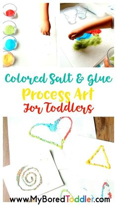 salt and glue process art for toddlers. A fun way to paint with toddlers - a great toddler activity.