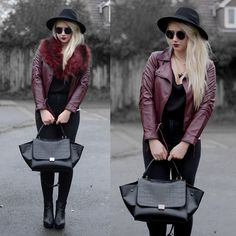 Primark Faux Fur Collar, Oasap Triangle Necklace, Yoins  Burgundy Jacket, Oasap Trapeze Bag