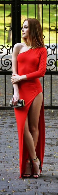 red carpet one shoulder side slit maxi dress  Photos of beautiful girls - on the beach, outdoors, in cars. Only real girls. #beautifulgirls #beachgirl