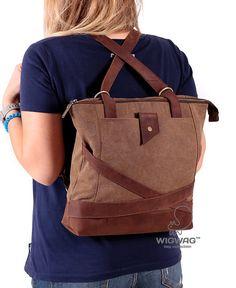 Womens canvas bag, convertible messenger bag, women's backpack, women's canvas leather bag, canvas leather backpack, women's handbag, Wigwag
