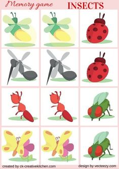 INSECTS - #MEMORY GAME FREE PRINTABLES