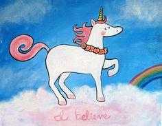 Unicorn Nursery Art Fairy Tale Childrens Room Decor Whimsical