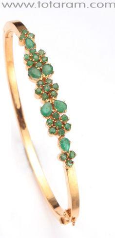 Emerald Bracelet in 22K Gold - Bangle Bracelet: Totaram Jewelers: Buy Indian Gold jewelry & 18K Diamond jewelry