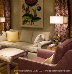 Lillac Leather and Whtie  CR Laine sofa    The Decorating Diva, LLC