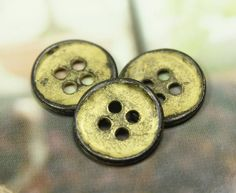 Curved Edge Metal Buttons , Gunmetal Yellow Color , 4 Holes , 0.51 inch , 10 pcs by Lyanwood, $5.00