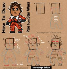 How to Draw Cartoon Chibi Poe from Star Wars The Force Awakens : Step by Step Drawing Tutorial (Drawing Step Disney)