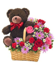 Valentine's Day flowers delivered with an adorable bear, $64.99