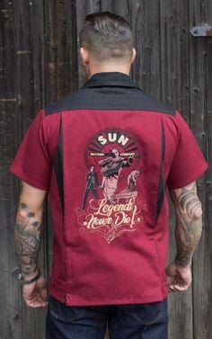 Steady Clothing Multi Pinup Rouge de Filles Panel Boutonné Bowling Chemise