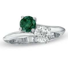 1-1/4 CT. T.W. Enhanced Green and White Diamond Bypass Ring