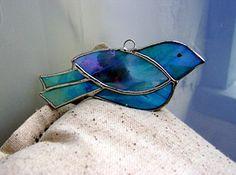 Stained Glass Blue Bird Shabby Suncatcher by GothicGlassStudio, $20.00 It would make a sweet stocking stuffer gift!