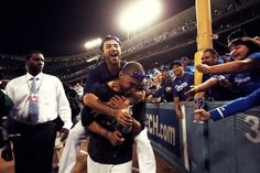 Andre Ethier and Matt Kemp Andre Ethier, Let's Go Dodgers, Matt Kemp, Dodger Game, I Love La, The Outfield, Team Photos, Celebration, People