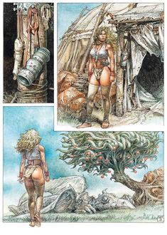 "Serpieri, Paolo Eleuteri - catalogue ""Eros & Aventure"" + volume with hardcover ""Anima - Druuna Cartoon Girl Drawing, Comic Drawing, Drawing Sketches, Art Drawings, Fantasy Comics, Fantasy Art, Serpieri, Comic Pictures, Cowboy Art"