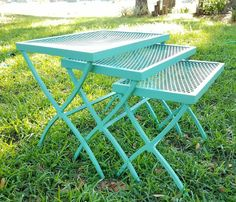 3 nesting stacking tables patio mesh metal jade green accent plant stand vintage | Antiques, Furniture, Tables | eBay!