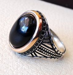 Agate onyx natural black aqeeq sterling silver men ring