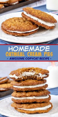 bake sale ideas Homemade Oatmeal Cream Pies - the marshmallow filling inside these soft chewy cookies makes them a delicious copycat of the store bought treats. Great recipe to make for bake sales or after school snacks. Easy No Bake Desserts, Köstliche Desserts, Delicious Desserts, Yummy Food, Healthy Food, Strawberry Desserts, Healthy Nutrition, Healthy Life, Tasty
