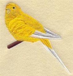 "7  x 9""  Embroidered - Pre-Order - Quilt Block - Budgie II #TheEmbroideryStore"