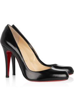 Want these in black and nude  $625 Christian Louboutin Décolleté 100 glossed-leather pumps