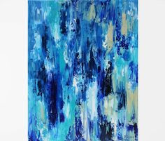 Original oil painting Blue abstract painting Blue painting Blue wall art Abstract canvas art Blue waterfall art Waterfall painting Art 18x24 #10180 ORIGINAL OIL PAINTING, Ready to ship New and in excellent condition. Varnish has been applied to protect the painting from possible dust and sun damage. The edges are painted black, and the painting is wired - Ready to hang (International buyers please read Policies-Painting shipped unstretched) Title: Waterfall Size: 18x24 x¾ inches Medium…
