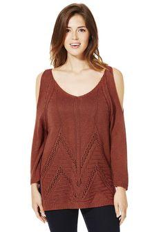 Clothing at Tesco   F&F Cold Shoulder Pointelle Jumper > knitwear > Women's Knitwear > Women