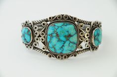 Pueblo, Turquoise and Hand Pulled Twisted Square Wire Foundation Bracelet, Circa 1930's