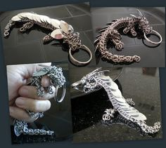 My very own pet dragon! Isn't he the cutest?!  This is my first try at multi-weave, semi-free form chainmaille.  Multi-weave for the combination of Dragonback, Byzantine, Box, and Mobius; semi-free form for improvising the neck and adding the paws.