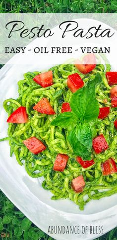 This easy, oil free, vegan pesto will have your tastebuds bursting with flavor!