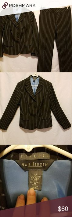 """NWT Van Heusen 2pc suit strip This is great quality material if you have never owned this brand. The blaxer is button up with 2 pocket look on front. A beautiful blue linning. The back is stitched for slimming detail. The pants have a 2"""" band with zipper an hook an eye. Pics have measurements. Bundle 2 or more items in any category an save,  save huge on shipping with large bundled of 5lbs or less. Van Heusen Other"""