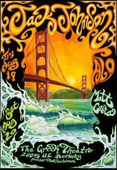 ☮ American Hippie Music Art ~ Concert Poster .. Jack Johnson, Berkeley 2005