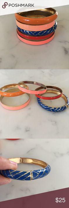 5 Enamel Bangle Bracelets Blue, Red, Orange, Coral Great condition! 5 different enamel colored bangle bracelets. 4 are slip on and the blue and gold one has a hinge and magnetic closure. Smallest one is 8.5 inches in circumference (red one) Largest is 9 inches (blue and gold one). Fits my 6 inch wrist comfortably with room. 2 are J. Crew brand. Colors are red, blue, orange, coral and pink. All gold metal lined. Jewelry Bracelets