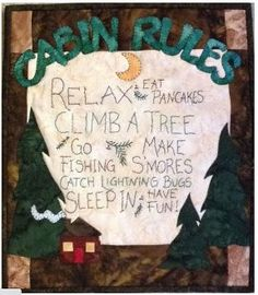 Cabin Rules Packaged Mini Quilt PDF Pattern from Quilt Doodle Designs by quiltdoodledesigns on Etsy Doodle Designs, Doodle Patterns, Quilt Patterns, Pattern Fabric, Weekend Projects, Fun Projects, Machine Applique, How To Purl Knit, Yarn Shop