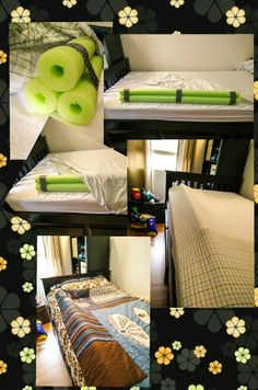Pool noodle bed rail/bumper: under the fitted sheet.